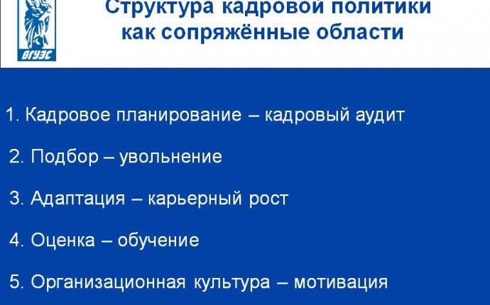 Структура кадровой политики как сопряжённые области - Презентация